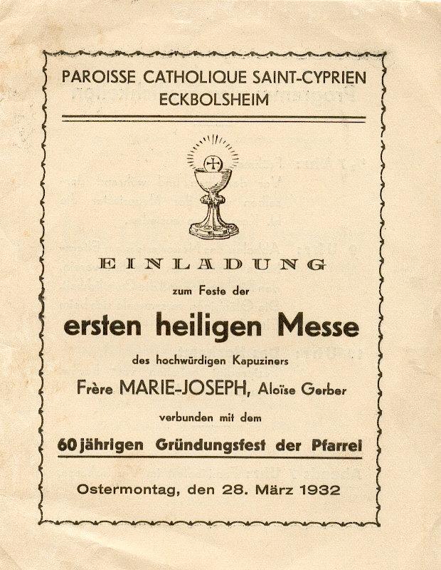 Image souvenir de sa Première Messe
